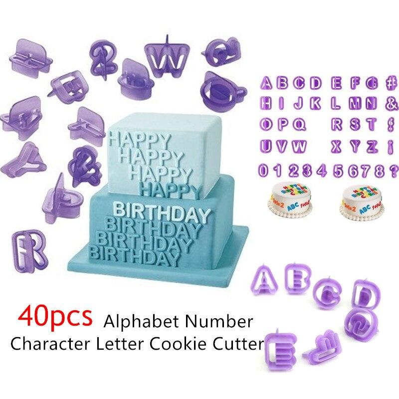 Lote de 40 Uds. De moldes para hornear con alfabeto, letras, cortador de galletas y Fondant, utensilios de decoración DIY con mango