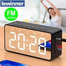 Lewinner BT506F haut-parleur Bluetooth Super basse sans fil stéréo soutien sonore TF AUX FM miroir réveil haut-parleur pour téléphone
