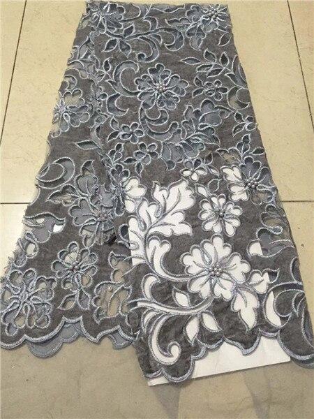 A nigéria é novo corte da mão de veludo rendas tecidos de gaze, contas tecido de renda Francesa com o belo vestido de noite