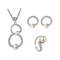 imitation pearl jewelry set earrings and pendant party pearl jewelry sets for women round pearl jewelry