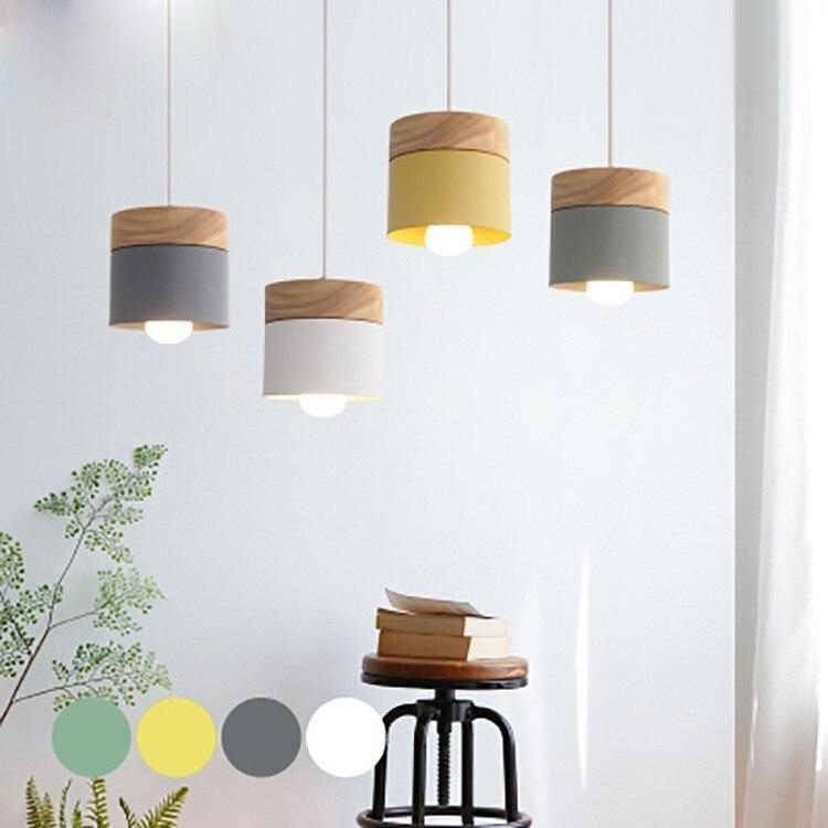 Lámpara colgante Led moderna con hierro de madera, barra de comedor, cafetería, restaurante, lámpara colgante de cilindro de madera de interior Nórdica