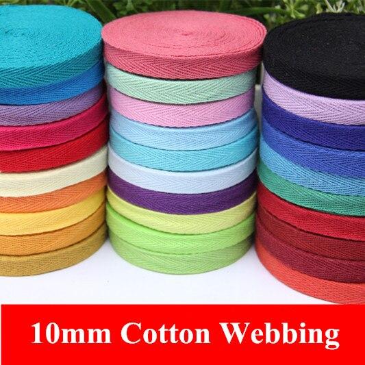 36Colors 10mm x50yard Cotton Webbing Bunting Herringbone Twill Apron Sewing Tape Strip colored bias binding free shipping HOT