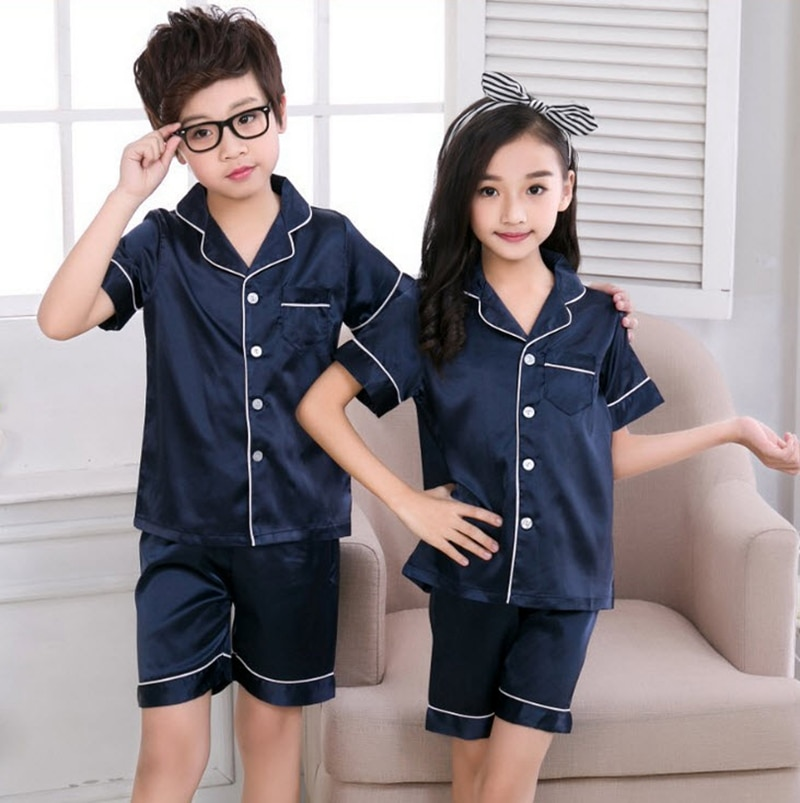 Crianças meninos meninas pijamas conjuntos de seda turn down collar camisas calças 2 pçs define 2020 casual pijamas bebe roupa para casa do bebê pj06