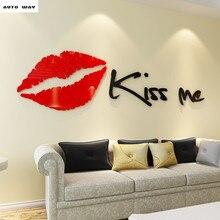 Labios kissme3D acrílico pegatinas de pared tridimensionales TV Fondo sofá pared Sala dormitorio amor Decoración