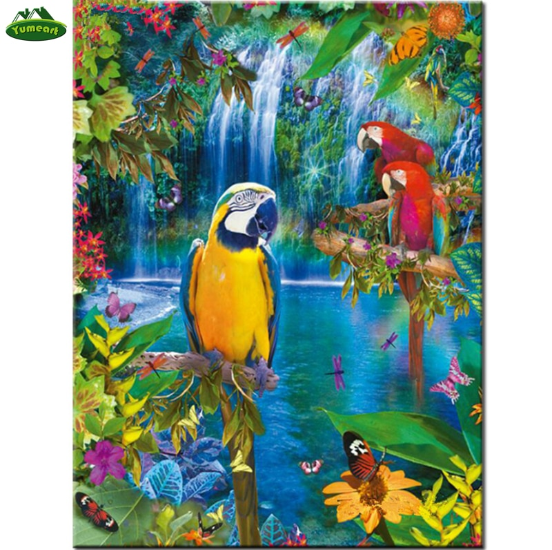5D Diamond Mosaic Rhinestone Diy Diamond Painting Cross Stitch Waterfalls Yellow and Red Parrots Birds Diamond Embroidery