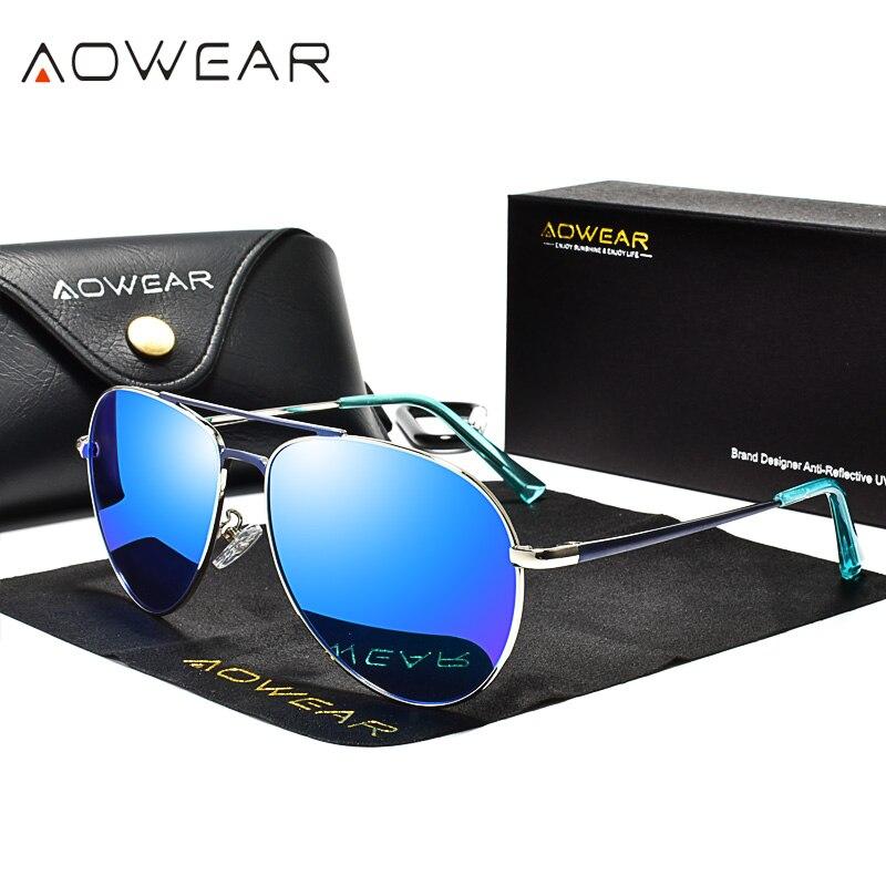 Солнцезащитные очки AOWEAR для мужчин и женщин, поляризованные зеркальные очки для вождения, очки пилота, HD