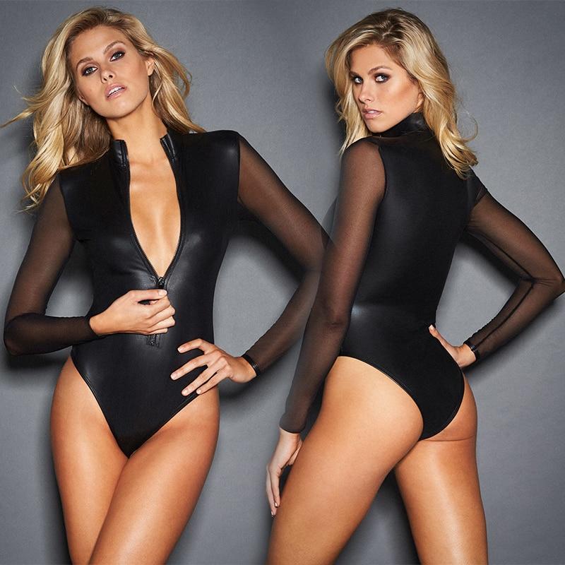 Black Pvc Mesh Long Sleeve Bodysuit Women Plus Size XXXL Leather Zipper Skinny Catsuit Sexy Body Feminino Club Party Bodysuits