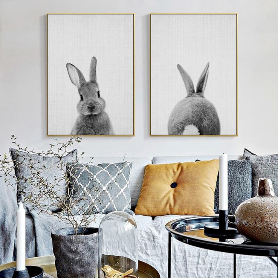 Kawaii Rabbit Tail Bunny lienzo pintura vivero animal para decoración de paredes Poster impresión nórdica imagen del bosque bebé niñas habitación decoración del hogar