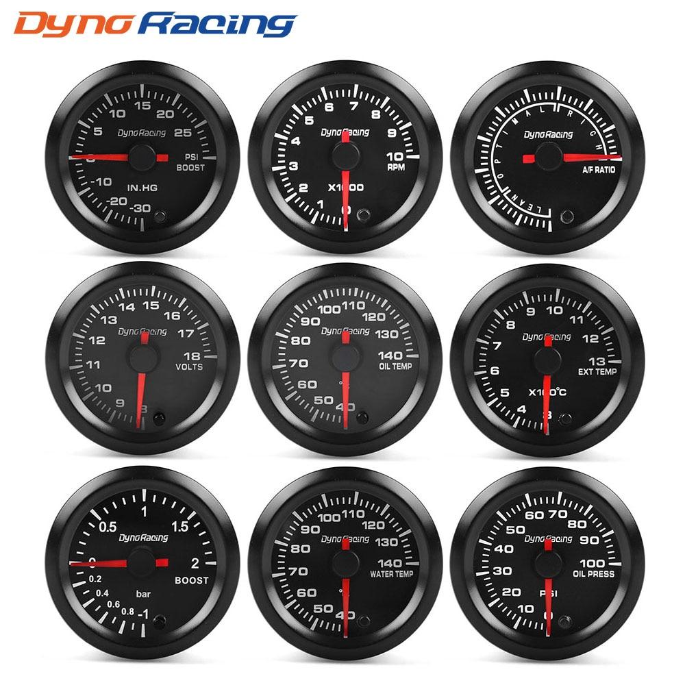 "Dynoracing 2"" 52mm 7 Colors High Speed Car Boost Water temp Oil temp Oil press Air fuel ratio Voltmeter EGT Tachometer RPM Gauge"