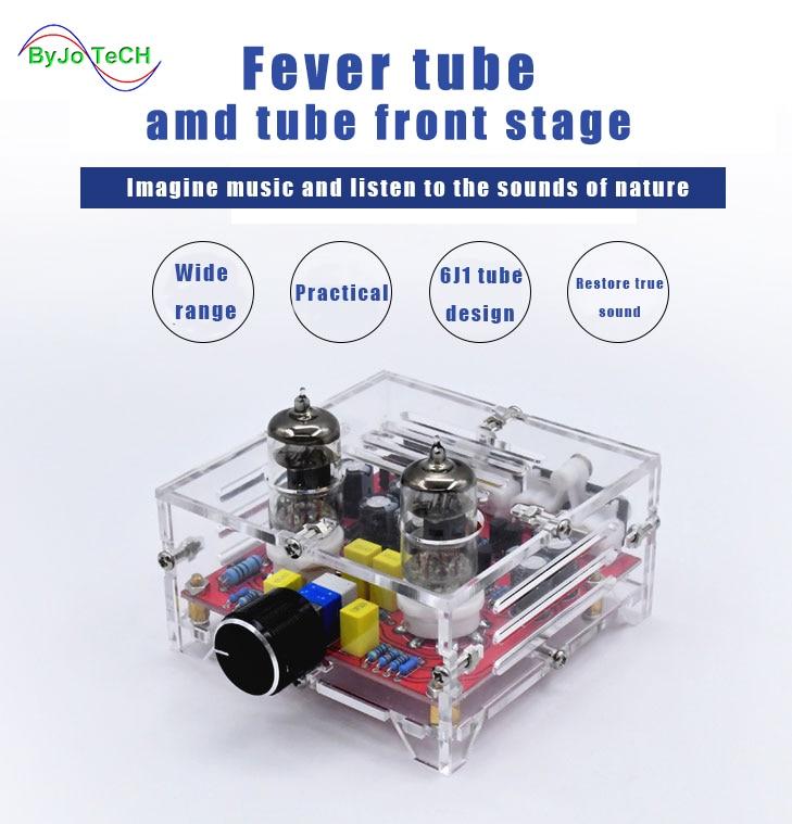 ByJoTeCH XH-A201 6J1 amplificador tablero frontal acrílico estéreo sonido Hifi doble canal tubo Clase A tablero de Control de volumen