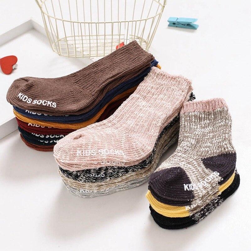 13 cores algodão bebê meias menino meninas crianças anti deslizamento meias grossas manter quente inverno chão tornozelo lã meia para 0-4 anos