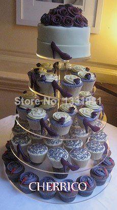 Soporte de acrílico de boda Maypole grande de 5 niveles para cupcakes, soporte para árbol, torre, decoración para tartas cocina, comedor, decoración para bodas