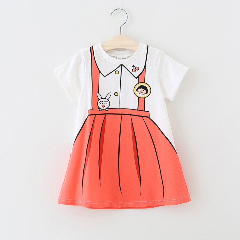 Printed baby girls dress novelty summer cotton baby dress for 1-4Years children summer clothes cartoon pattern infant dress