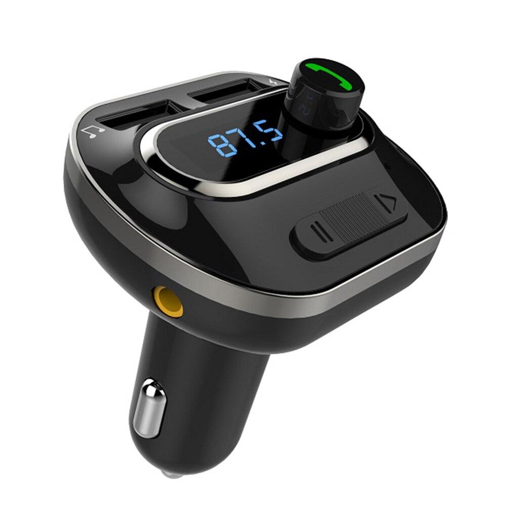 Kit de manos libres para coche auxiliar transmisor FM con Bluetooth Konrisa 5V2.4A cargador USB Dual reproductor de música adaptador de Radio compatible con tarjeta TF u-disk