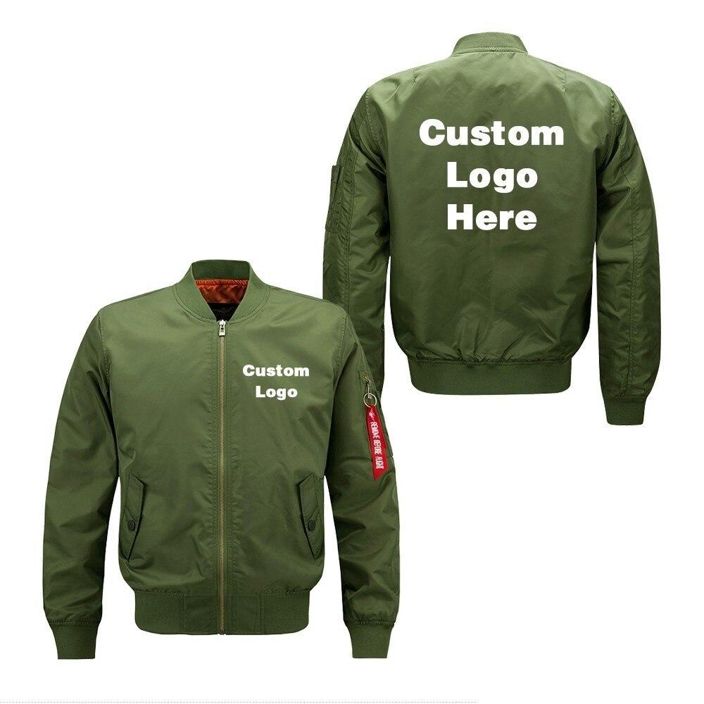 Primavera otoño personalizado diseño de logotipo DIY hombres chaqueta de vuelo impresión Cremallera gruesa abrigo chaqueta de bombardero prendas de vestir unisex Dropshipping