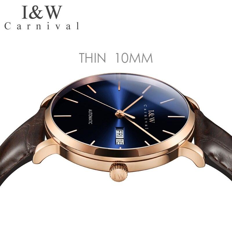 كرنفال 8028G جديد ساعة ميكانيكية الرجال العلامة التجارية الفاخرة الرجال ساعات أوتوماتيكية ساعة معصم الياقوت الذكور مقاوم للماء Reloj Hombre