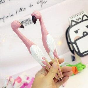 Pink Flamingo Gel Pen Wooden Signature Pen Photograph Promotional Gift Girls Pennen Gel-pen Wood Cute Bird Pens School Supplies