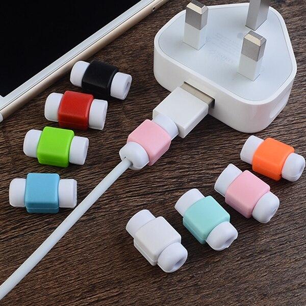 10 unids/lote nuevo cable protector para el iPhone 7 8 x carga cable colorido silicona Cables USB protect Winder