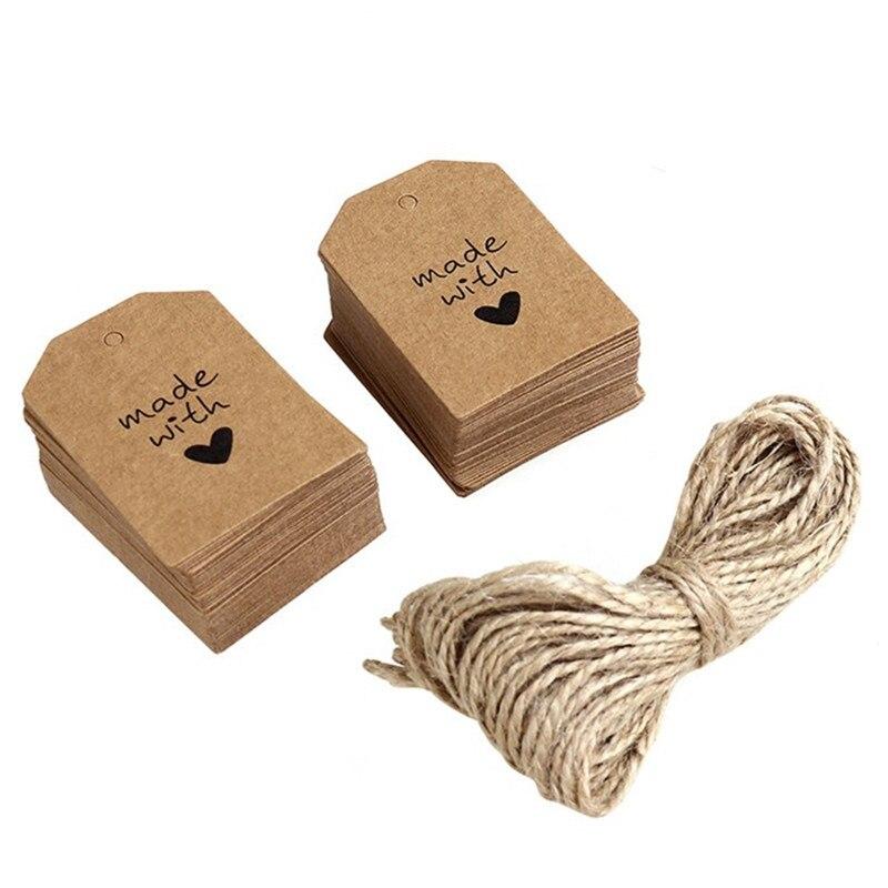 100 Uds. Etiqueta de papel de señal hecha con amor DIY encaje festoneado etiqueta cabeza maleta etiquetas de papel Kraft marrón boda nota precio etiqueta