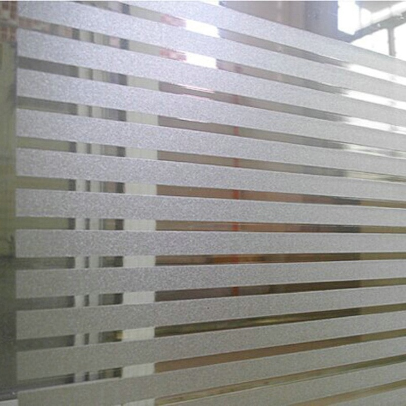 Etiqueta engomada de cristal esmerilado rayado para Oficina Baño película decorativa Noglue Static Cling PVC película de vidrio a prueba de agua pegatina de vidrio