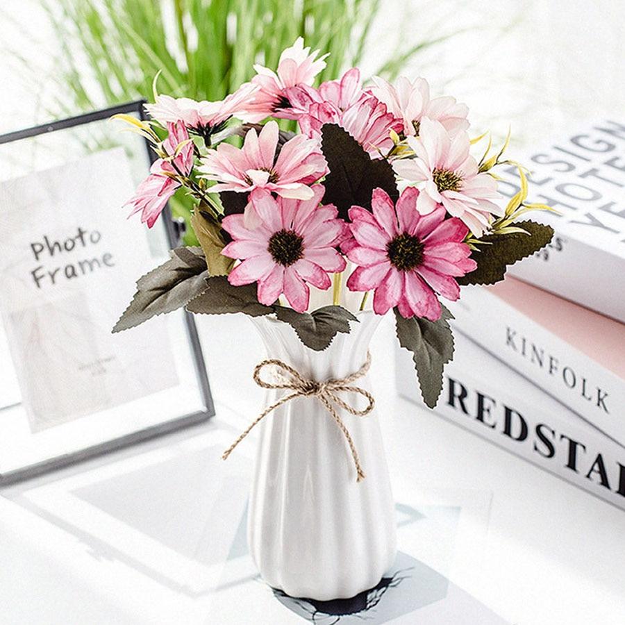 Flores artificiales Gerbera de seda con 10 cabezales, accesorios de decoración Vintage para hogar, flores falsas, margaritas y girasoles