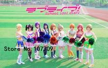 Amour en direct Honoka Kotori Umi Eli Nozomi Maki Rin Hanayo Nico Cheerleading cos robe acclamant escouade Cosplay uniforme Costume