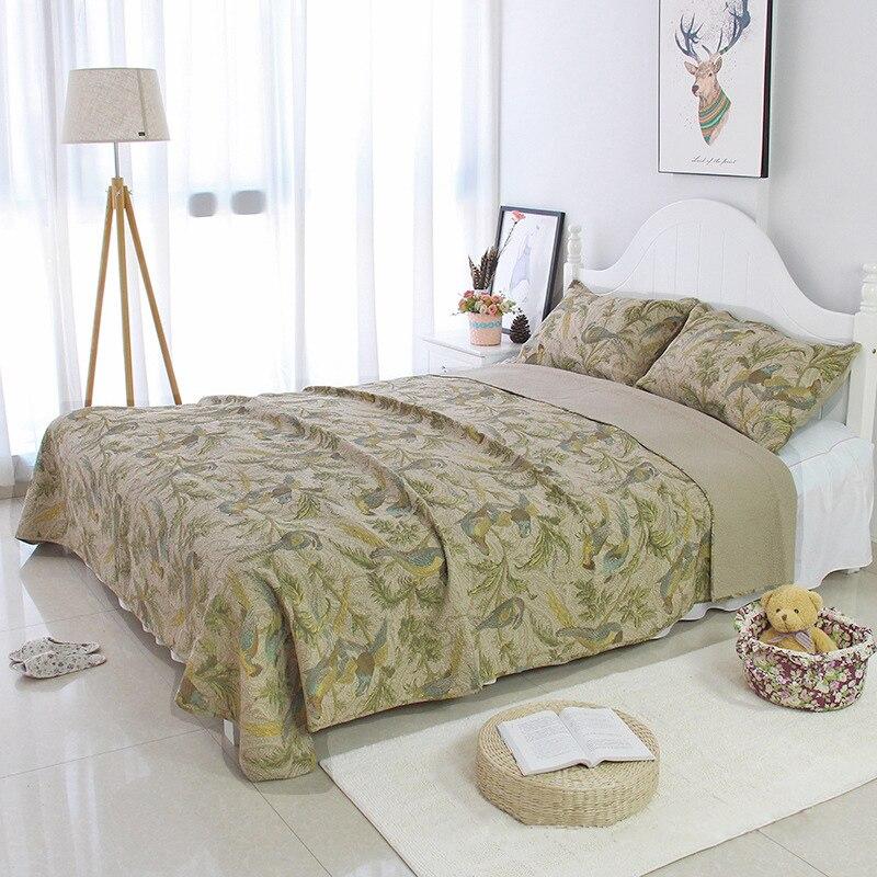 الصيف المفرش لحاف من القطن مجموعة 3 قطعة خمر المطبوعة لحاف غطاء السرير المخدة الملك الملكة حجم CHAUSUB مبطن غطاء