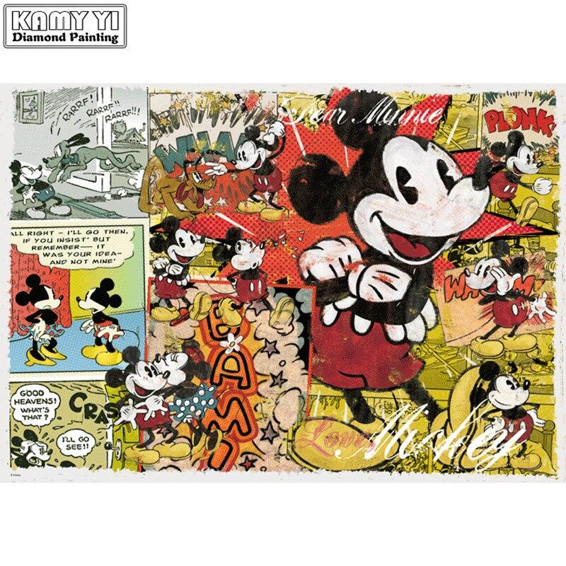 Full Square/Round Drill 5D DIY Diamond Mickey 3D Embroidery Cross Stitch Mosaic Rhinestone Decor HYY