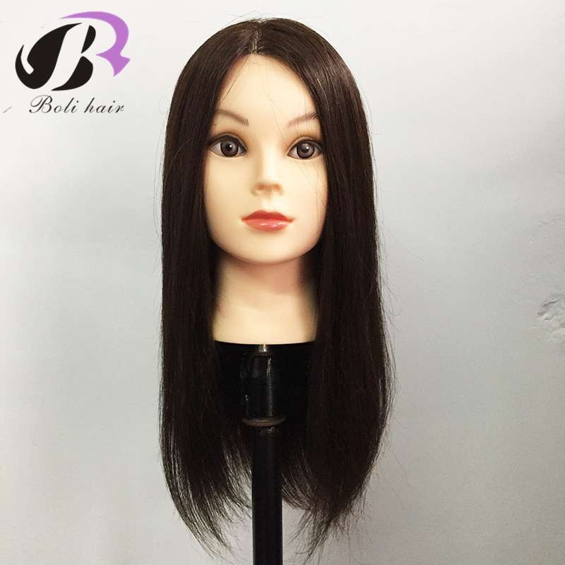 18Inch 100% Real Human Hair Training Head With Wig Dummy Doll Head For Hairdresser Practice Hairstyles Hairdos Haircuts Permed