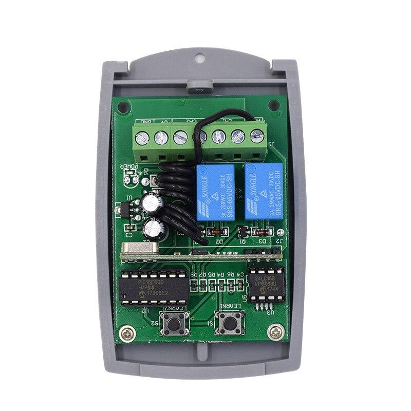 DC 12-24V receptor puerta de garaje Control remoto llave 433,92 Mhz receptor puerta abridor Fob