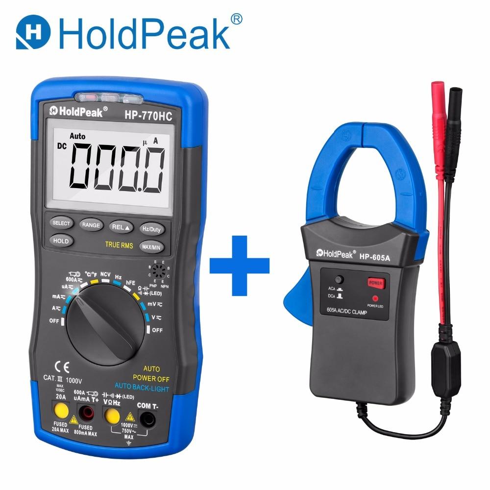 HoldPeak HP-770HC صحيح RMS Autoranging التحقيق رقمي متعدد مع NCV + HP-605A المشبك محول 600A AC/DC الطاقة الحالية LED 45 مللي متر