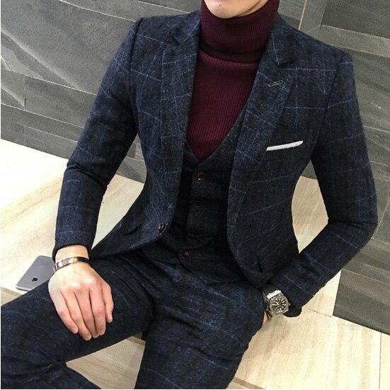 3 חתיכות 2019 חליפות גברים בריטי חדש סגנון עיצובים מלכותי כחול Mens חליפת סתיו חורף עבה Slim Fit משובץ חתונה שמלת טוקסידו