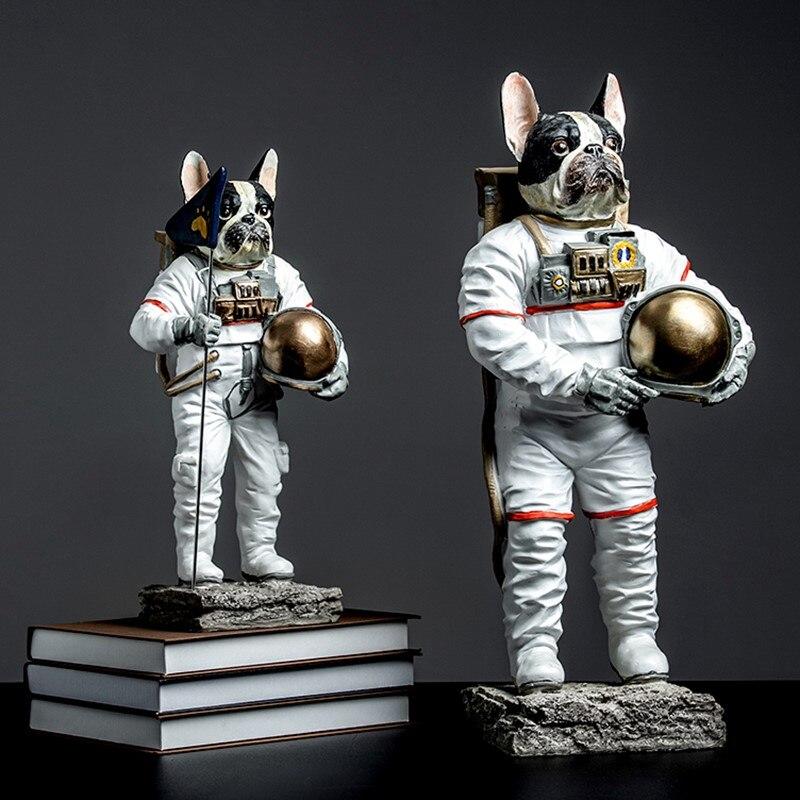 Astronauta cão estátua estatueta animais spaceman bulldog arte escultura resina arte & artesanato acessórios de decoração para casa r737