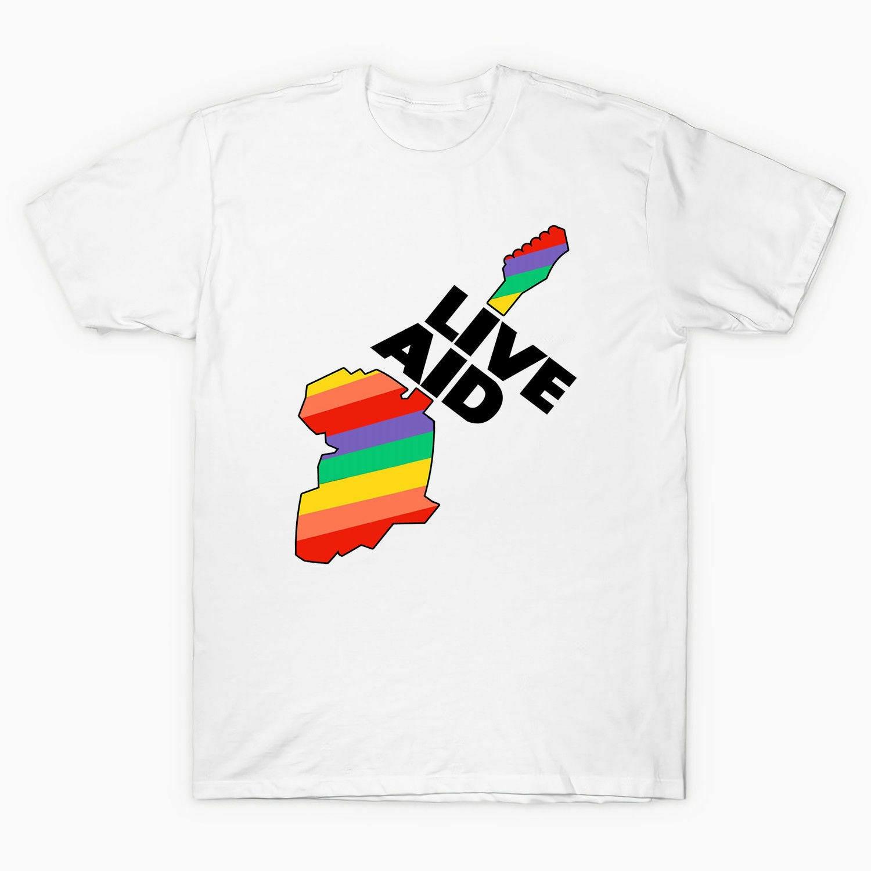 Camiseta de hombre Live Aid 1985 Elton John Freddie Mercury 80 s, camiseta blanca, camiseta, Tops, camiseta divertida fresca de verano