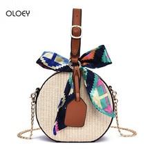 OLOEY femmes printemps et été nouveau sac de paille mode chaîne épaule sac de messager contraste rond tissé sac à main