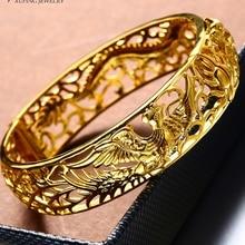Bridal Bangle Dragon and Phoenix Patterned  Yellow Gold Filled Wedding Womens Bangle Openable