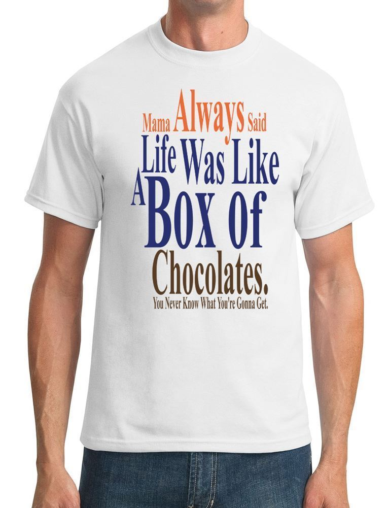 ¡Moda 2019! camisetas de algodón para hombre, polos casuales de Forrest Gump Box Chocolates, camisetas clásicas
