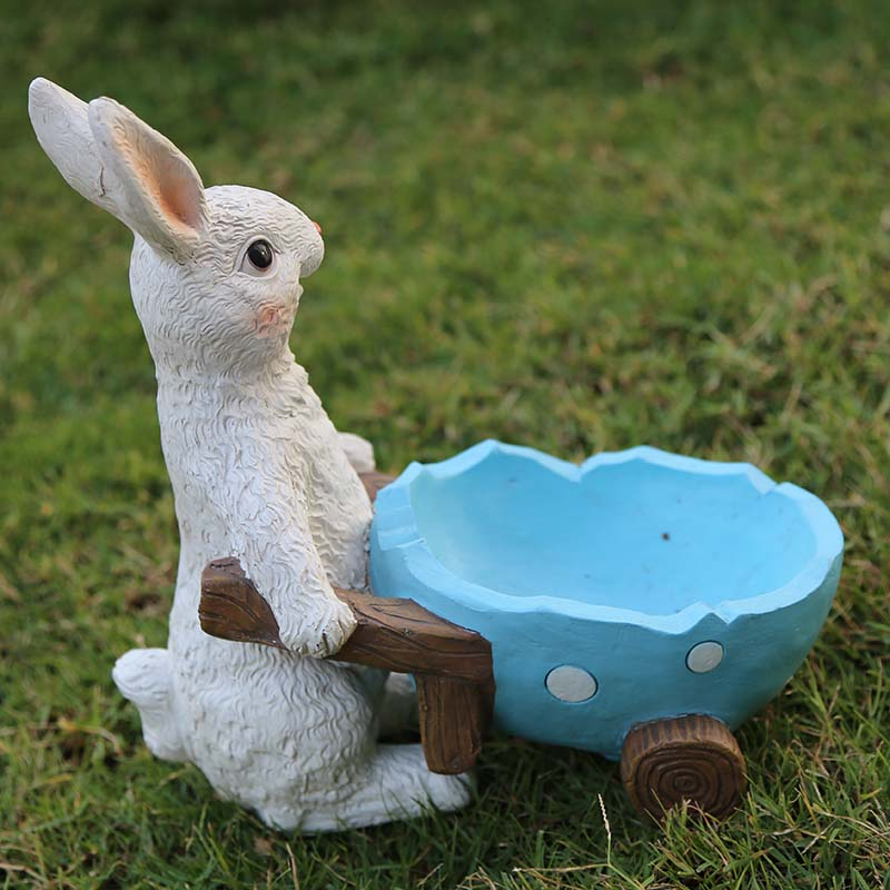 Conejo de dibujos animados adornos de resina para jardín decoración creativa del hogar bosque paisaje al aire libre animal decorativo esculturas manualidades