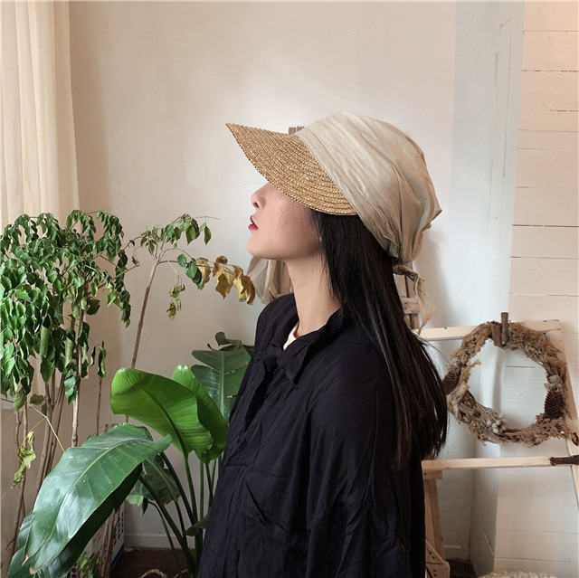 01903-jiejia57 nuevo paño de verano de retazos de paja hecho a mano visores cap hombres mujeres sombrero de ocio