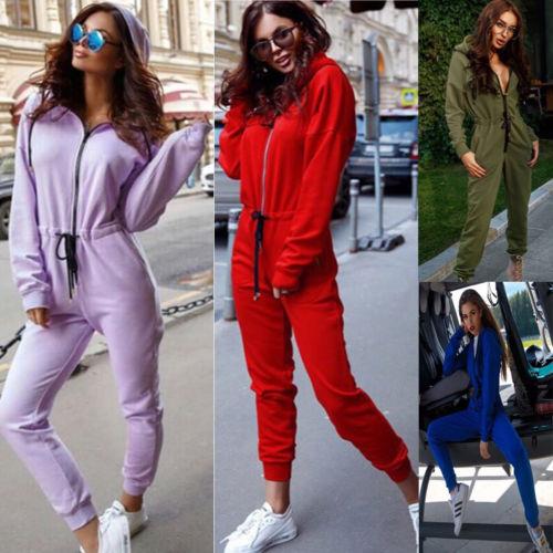 Otoño Invierno mujeres Casual Zipper Chic hooeed manga larga Color sólido Drawrsing elegante Jumpsiut Romper mono pantalones largos
