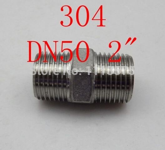 "DN50 2 ""304 321 316 parafuso do hex do aço inoxidável rosca macho duplo encanamento conector acessórios mamilo"