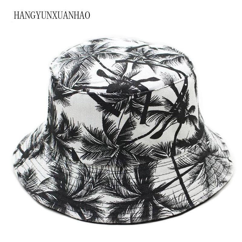 2019 New Two Side Reversible Coconut Tree Bucket Hat Unisex Printing Hip Hop Hat For Women Men Panama Cap Summer Fisherman Hat