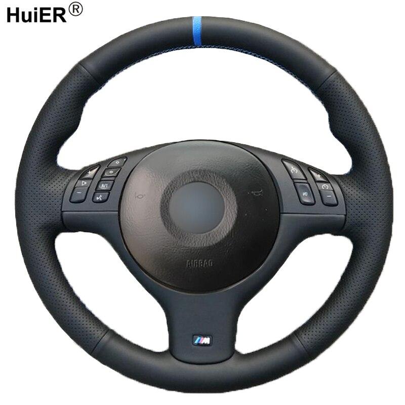 HuiER de coser a mano de protector para volante de coche para BMW E46 E39 330i 540i 525i 530i 330Ci M3 2001 - 2003 trenza en el volante