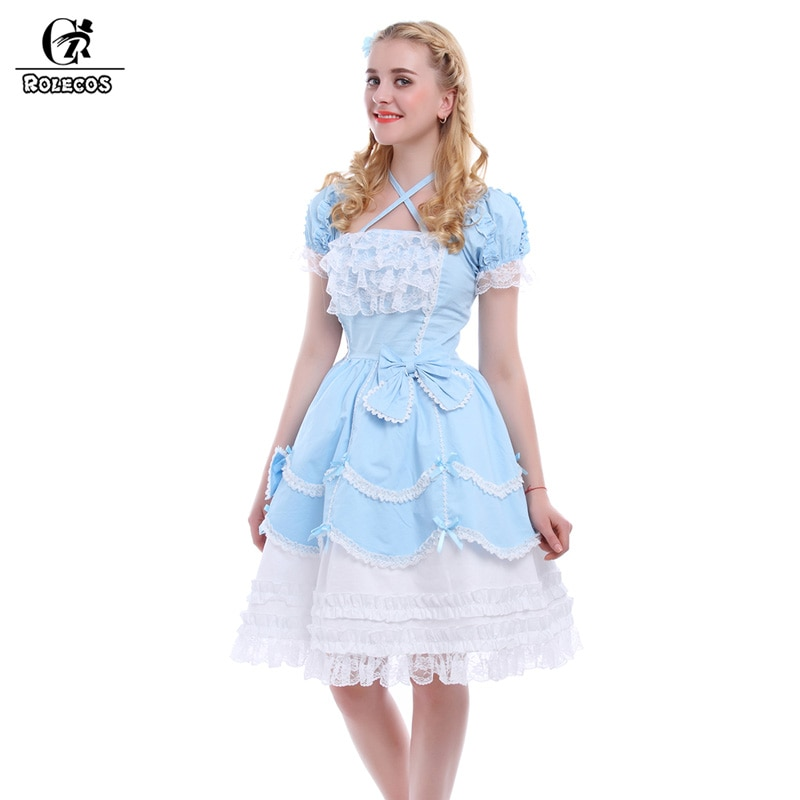 ROLECOS New Azul/Rosa Sweet Lolita Vestidos Mulheres Gothic Maid Cosplay vestido de Baile Do Vintage Bowknot Vestido GC133