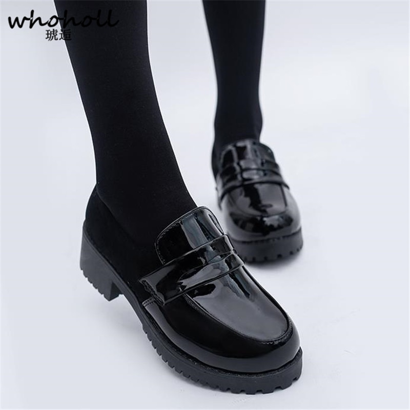 WHOHOLL Cute Lolita Girl Women Maid Boots Shoes Round Toe Leather Shoes Japanese JK High School Uniform Kawaii Anime Cosplay japanese lolita shoes mary jane pu leather jk love girl student kawaii sweet round head waterproof black shoes anime cosplay