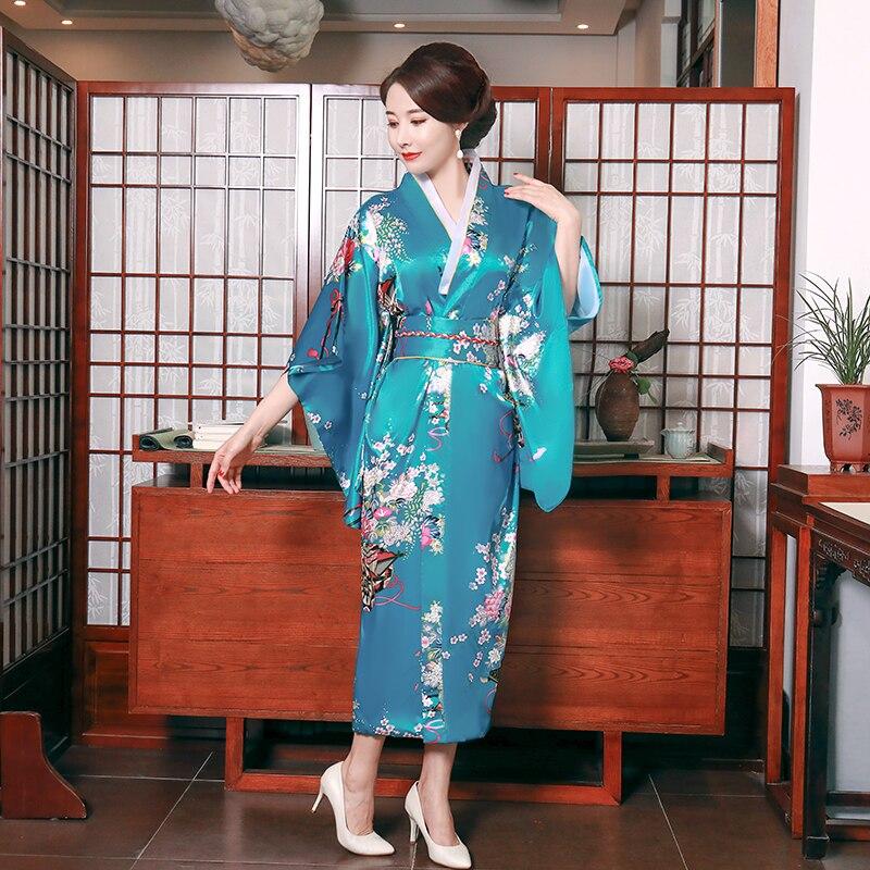 Mujeres tradicionales Kimono Yukata con Obi novedad Sexy azul estilo japonés estampado satinado Cosplay ropa para el escenario