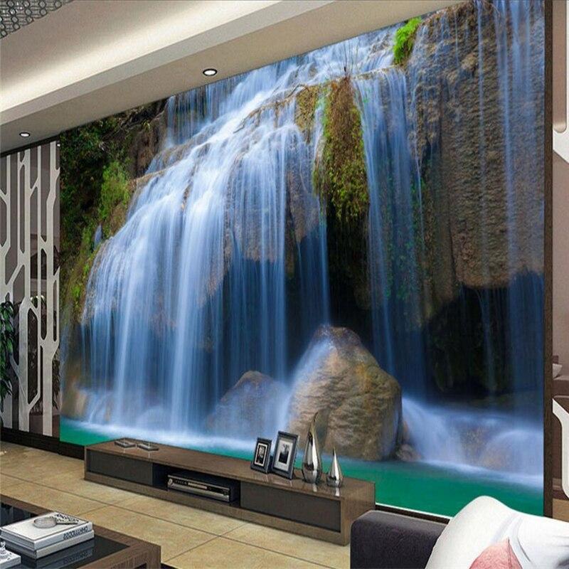 beibehang Wallpaper Mural Landscape Waterfall Waterfront TV Wall Background papel de parede wallpaper for wall