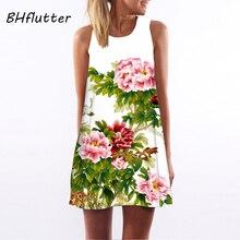 BHflutter, vestido de verano para mujer, Nuevo 2018, estampado Floral, lindo vestido de fiesta sin mangas, cuello redondo, vestidos de gasa casuales, venta al por mayor de fábrica