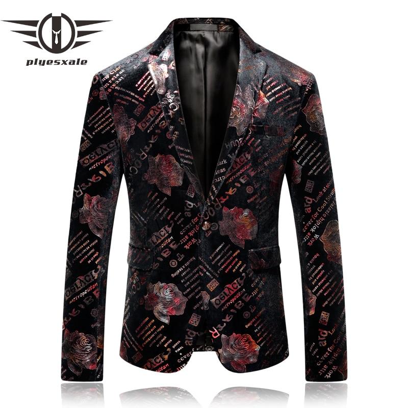 Plyesxale Mens Floral Blazer 2018 High Quality Man Blazer Casual Suit Jacket 5XL Brand Slim Fit Wedding Prom Blazer Hombre Q250