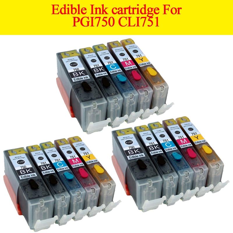 15 шт. PGI 750 CLI 751 картридж со съедобными чернилами для canon Pixma MG5470 MG5570 MG6770 MX927 IP7280 MG5480 IX6870 принтер
